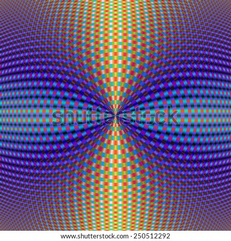 Circular Pinch in Color / A digital abstract fractal image with a circular geometric design in blue, red, turquoise, orange and yellow.