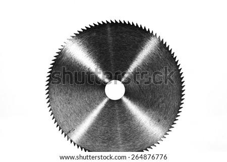 Circular saw blade isolate on white.Black and white photo. - stock photo