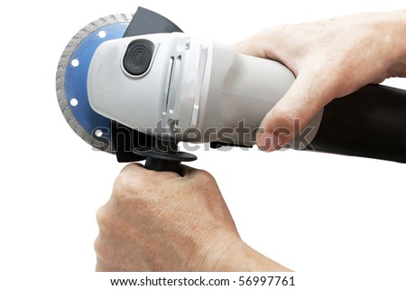 circular saw in hand of man isolated on white background