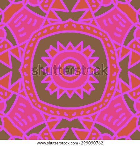 Circular seamless  pattern of decorative motif, stripes, spots, star, zigzag. Hand drawn.