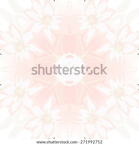 Circular seamless pattern of floral motif, branches, ellipses, flowers . Hand drawn.