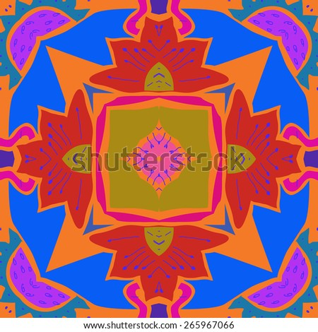 Circular seamless pattern of floral motif, leaves, zigzag, stamens. Hand drawn. - stock photo