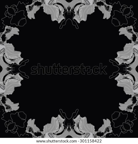 Circular seamless  pattern of floral motif, spots, stripes, hole, leaves, copy space. Hand drawn.
