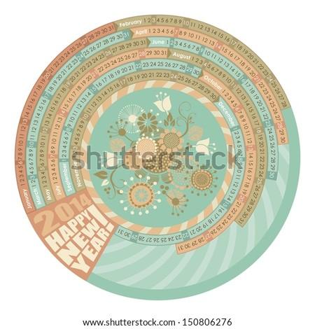 Circular, spiral calendar with highlighted Mondays - stock photo