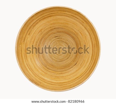 Circular texture of a wooden bowl - stock photo