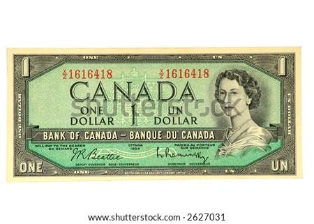 Circulating Canadian Banknote of 1954-72. - stock photo