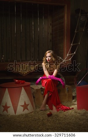 Circus actress. Circus backstage  - stock photo