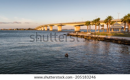 Circus Bridge spanning the inter-coastal in Sarasota at dawn - stock photo