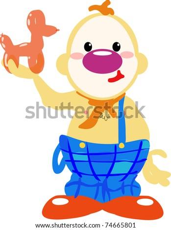 Circus clown holding balloon dog - stock photo