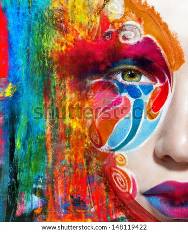circus color face art woman close up portrait - stock photo