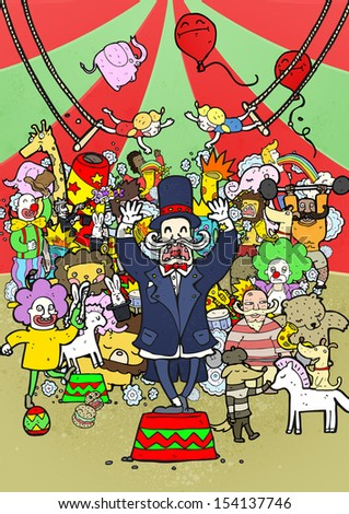 Circus.  Crazy busy circus illustration. - stock photo