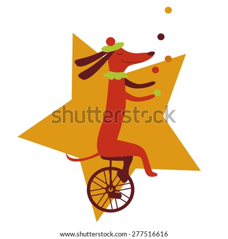 Circus dog juggler character Illustration Raster version - stock photo