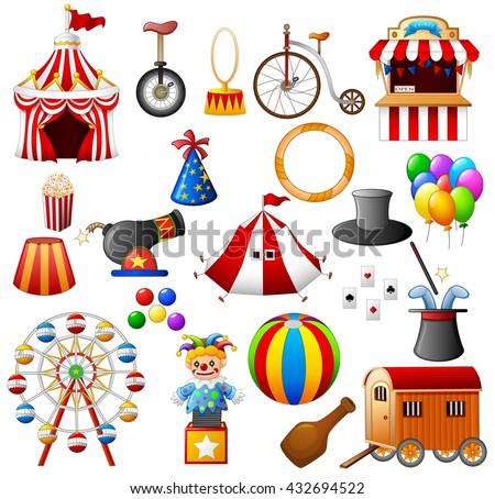 Circus equipment collection set - stock photo