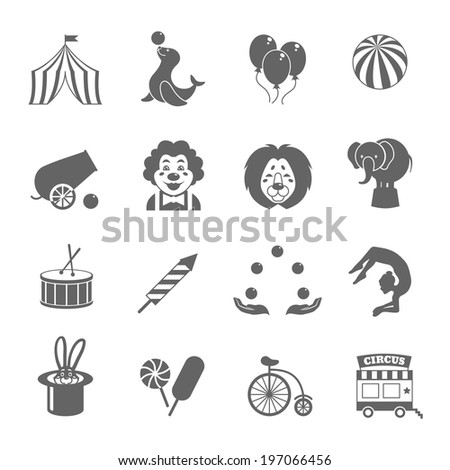 Circus graphic pictograms of juggling sealion acrobat stunt collection black icons set isolated  illustration - stock photo