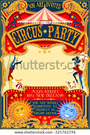 Circus Acrobatic Show Retro Template Cartoon Stock Illustration