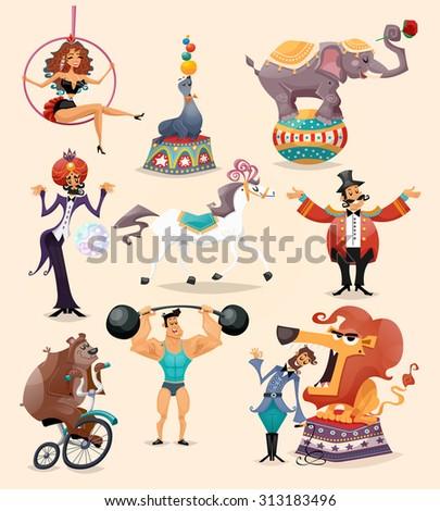Circus performance decorative icons set with athlete animals magician  illustration - stock photo