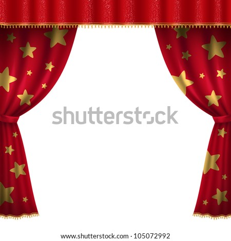 Circus red curtain with stars - stock photo
