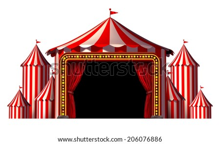 Circus stage tent as a group of big top carnival tents with a red curtain opening entrance as a fun entertainment icon for a theatrical celebration or party festival isolated on a white background. - stock photo