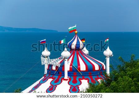 Circus tent near the sea - stock photo