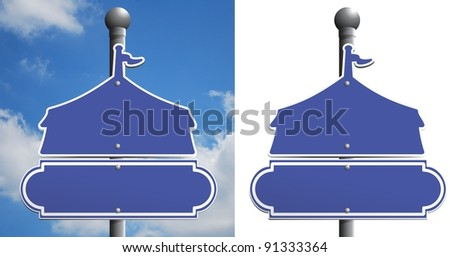 Circus tent sign on a post. carnival sign - stock photo