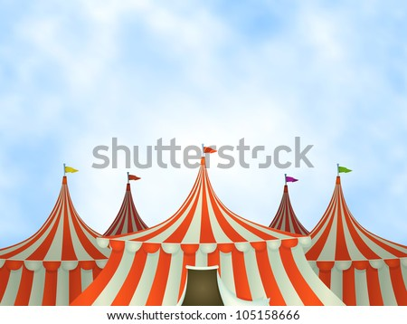 Circus Tents Background/ Illustration of cartoon circus tents on a blue sky background