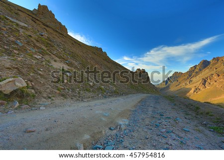 cirque glaciers, rocky road, red mountain stone, summer, glacial valleys, mountains, Kazakhstan, Kyrgyzstan
