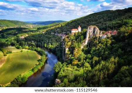 Cirque la Popie medieval village landscape view, France - stock photo