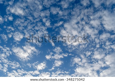 Cirrus clouds in blue sky - stock photo