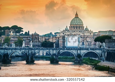 Cirtscape of Rome at sunset, Italy