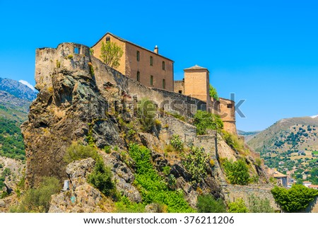 Citadel built on top of a hill in Corte town, Corsica island, France