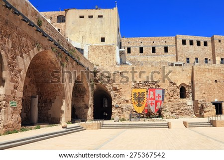 Citadel of Acre is an Ottoman fortification, built on the foundation of the Hospitallerian citadel.Ancient Acre (Akko), Mediterranean, Israel. Old town of Acre is UNESCO World Heritage - stock photo