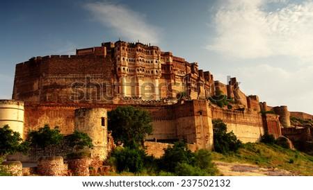 citadel of Mehrangarh in Jodphur, Rajasthan, India - stock photo