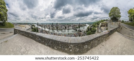 Citadel or Castle of Namur, a fortress in the city of Namur, at the confluence of the Sambre and Meuse rivers in Walloon Region, Belgium - stock photo