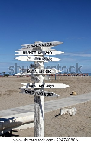 cities distance arrow signs  - stock photo