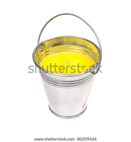 Citronella candle isolated over white background - stock photo