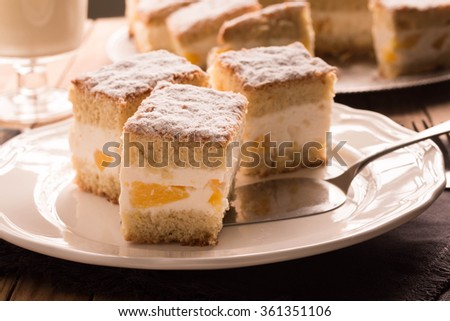 Citrus Cheesecake slices on plate. Selective focus
