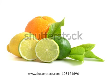 Citrus. Citrus fruits with green leaves. Citrus fruits isolated on white background. Healthy citrus fruits. Citrus fruits -  orange, lime and lemon. - stock photo
