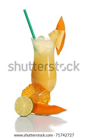 Citrus cocktail on white - stock photo