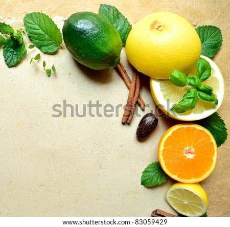 Citrus fruit and herb - stock photo