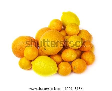 Citrus fruits: orange, lemon and mandarin