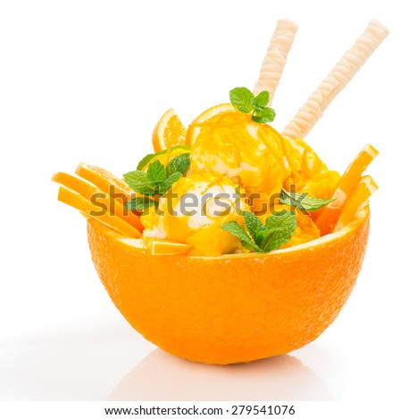Citrus ice cream in a rind of orange fruit isolated on white background - stock photo