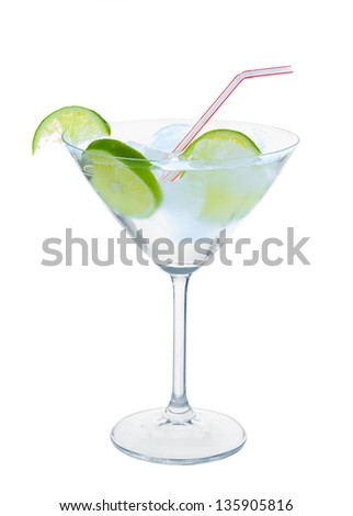 Citrus in martini glass with ice isolated on white background