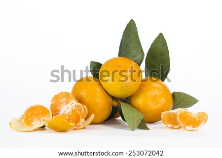 citrus isolated tangerine mandarine orange on white background. - stock photo