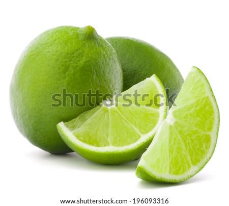 Citrus lime fruit isolated on white background cutout - stock photo