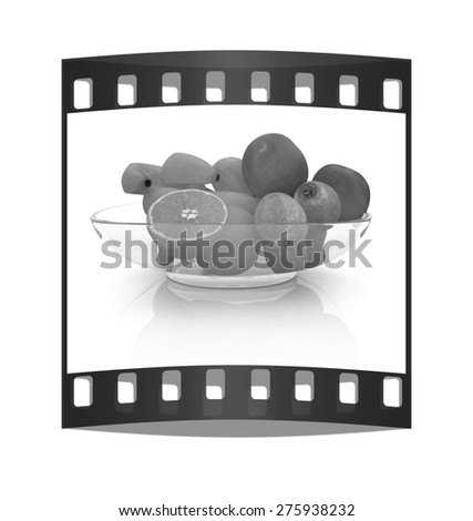 Citrus on a plate on a white background. The film strip - stock photo