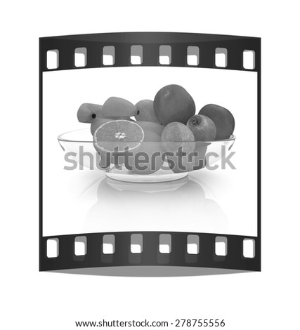 Citrus on a white background. The film strip - stock photo