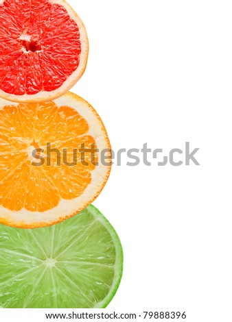 citrus slices isolated on white background