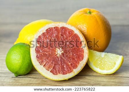 Citrus Summer Fruits Close Up - stock photo