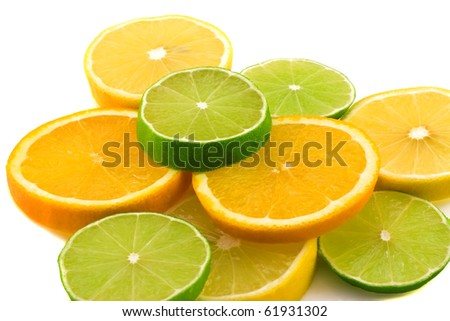 Citruses: lime, lemon and orange isolated on white background - stock photo