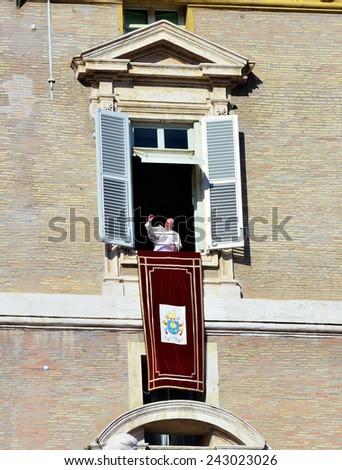 CITTA' DEL VATICANO - JANUARY 4 - Francesco Bergoglio Pope appears at the window of St. Peter blesses the faithful Citta del Vaticano Jan 4 2015 - stock photo